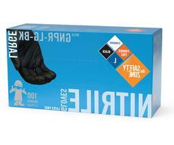 Safety Zone Nitrile Gloves Powder Free Latex Free Black, Siz