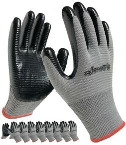 Safety Work Gloves Nitrile Coated Grip Men Women 8-Pack Smal