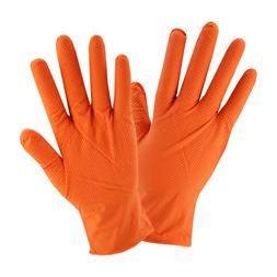 Orange Diamond Textured Nitrile Industrial Disposable Gloves