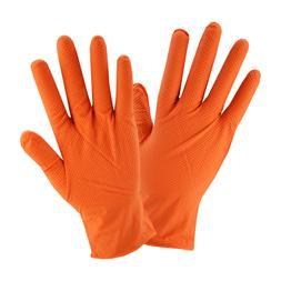 Orange Diamond Textured Nitrile Industrial Disposable Gloves