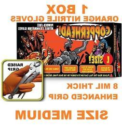 COPPERHEAD Orange Industrial Nitrile Gloves, 8 MIL MEDIUM Th