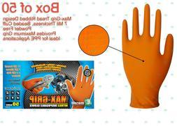 Orange Max-Grip Nitrile Gloves Latex-Free Powder Free 7 Mil