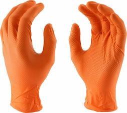 Orange 7 MIL Non-Tearing Powder Free Nitrile Gloves with Tex