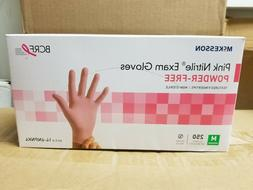 pink nitrile exam glove powder free size