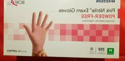 PINK NITRILE EXAM GLOVES MEDIUM BOX OF 250 PIECES NEW McKEES
