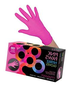 Framar Pink Paws Nitrile Gloves, Powder Free, Latex Rubber F