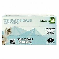 Emerald Powder Free Glacier White Nitrile Gloves, 100 Pack S