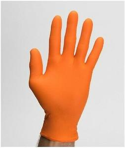 POWDER FREE Large Safety-Orange Nitrile Gloves 100/Box XTRA