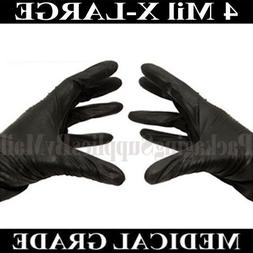 """ PSBM Black Nitrile Medical Exam Gloves Powder-Free 4 Mil T"