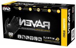 SAS Raven  Black Nitrile Gloves Box Of 100 - Free Shipping