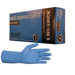 Skintx High Risk Heavy Duty 8-10 Mil Nitrile Gloves, Powder