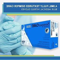 Sempercare NIPFT102BX Gloves, Nitrile, Small, Blue