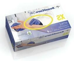 Medline SensiCare Silk Nitrile Exam Gloves, Blue, X-Small, C
