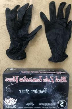 Small Black Latex Disposable Gloves 100 per Box Skintx Powde