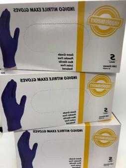 SupplyMaster SMINE4L Indigo Nitrile Exam Gloves - 4 Box See