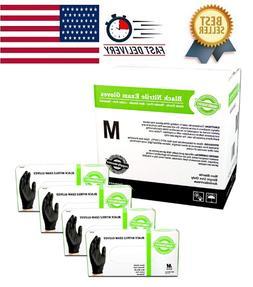 SupplyMaster Black Nitrile Exam Disposable Gloves - 4 Mil, P