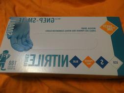 Unopened Box Of 100 Nitrile Blue Safety/Exam Gloves -Size Sm
