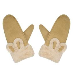 CactusAngui Winter Thick Neck Hanging Gloves Women Cute Rabb