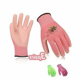 Vgo 3Pairs Nitrile Coating Gardening Work Gloves, Random Col