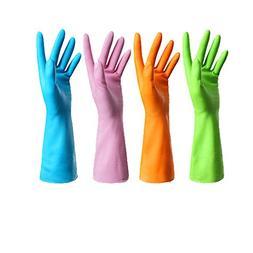 4 Pair Waterproof Reusable Dishwashing Nitrile Gloves for Ca
