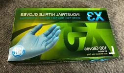 AMMEX X3 Blue Nitrile Industrial Latex Free Powder Free Text